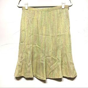 ECI New York Green Metallic Striped Trumpet Skirt